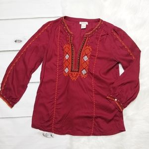 LUCKY BRAND BOHO BURGUNDY EMBROIDERED BLOUSE SMALL